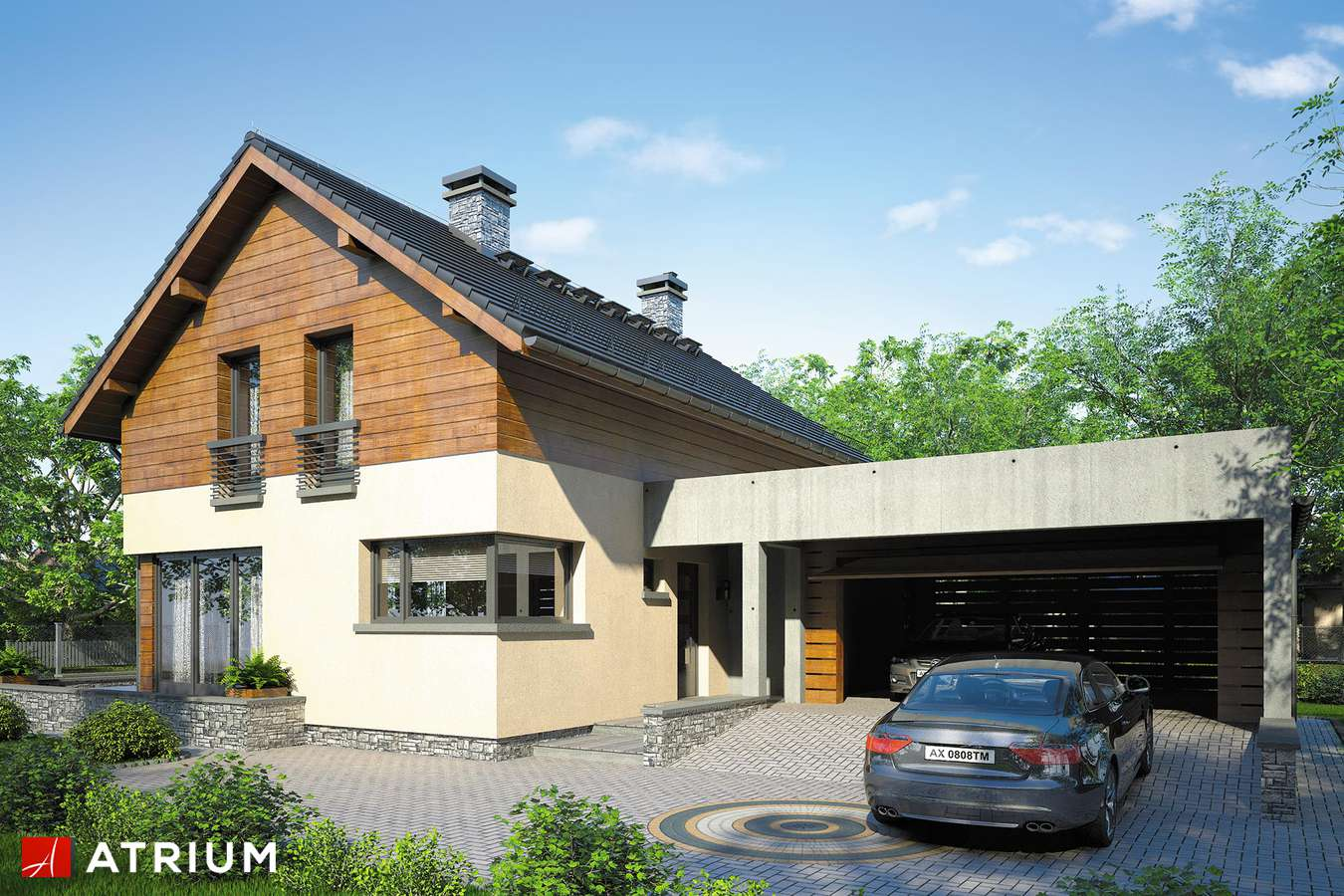 Projekty domów - Projekt domu z poddaszem SAMBA VI - wizualizacja 2