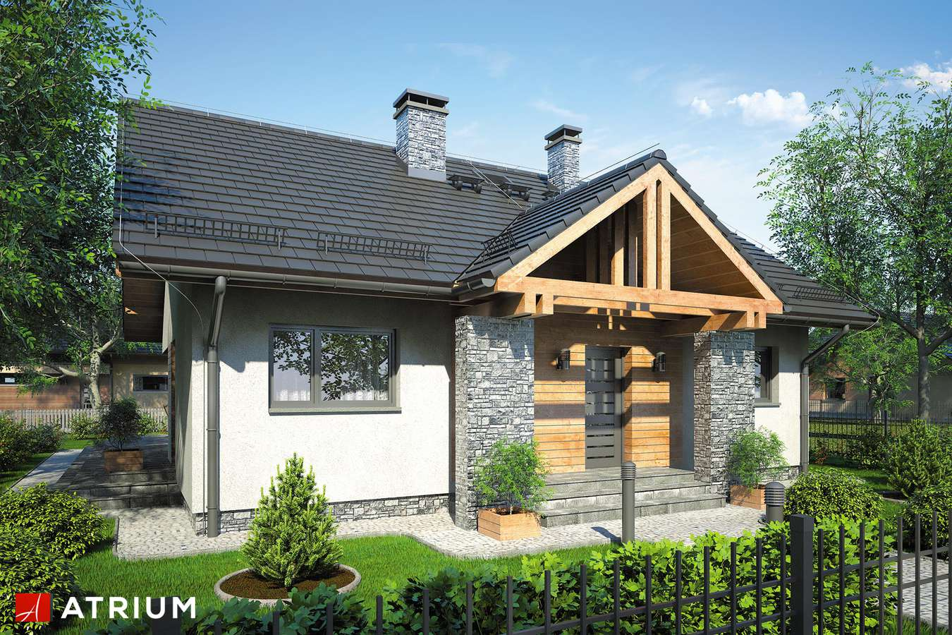 Projekty domów - Projekt domu parterowego AMBER V - wizualizacja 1