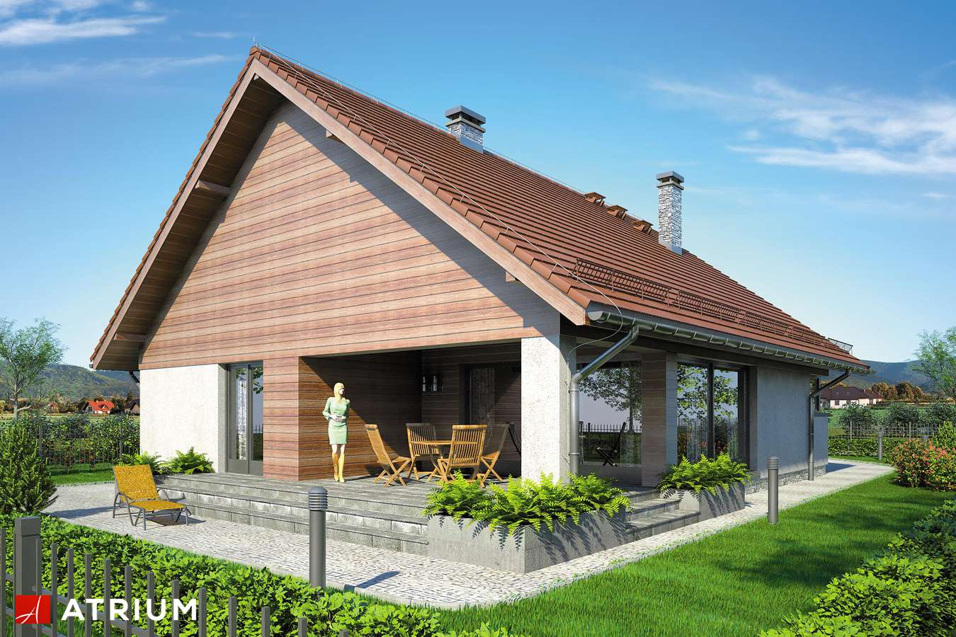Projekty domów - Projekt domu parterowego PELIKAN VIII - wizualizacja 2