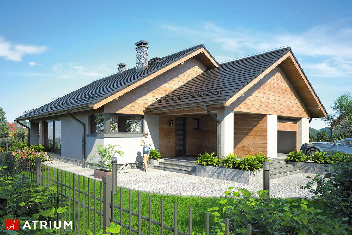 Projekty domów - Projekt domu parterowego PELIKAN IX - wizualizacja 1