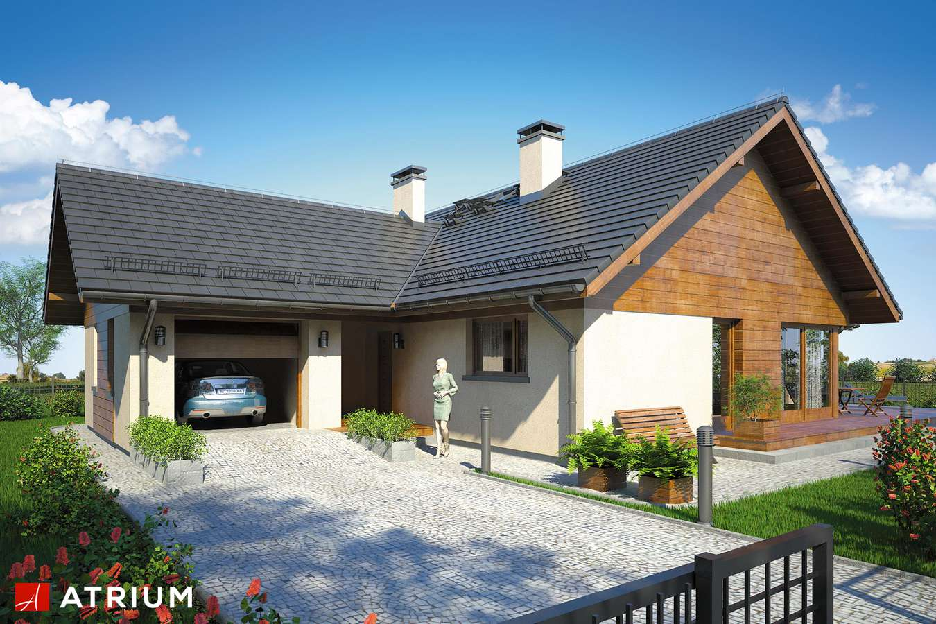 Projekty domów - Projekt domu parterowego WINSTON IX - wizualizacja 1 - wersja lustrzana