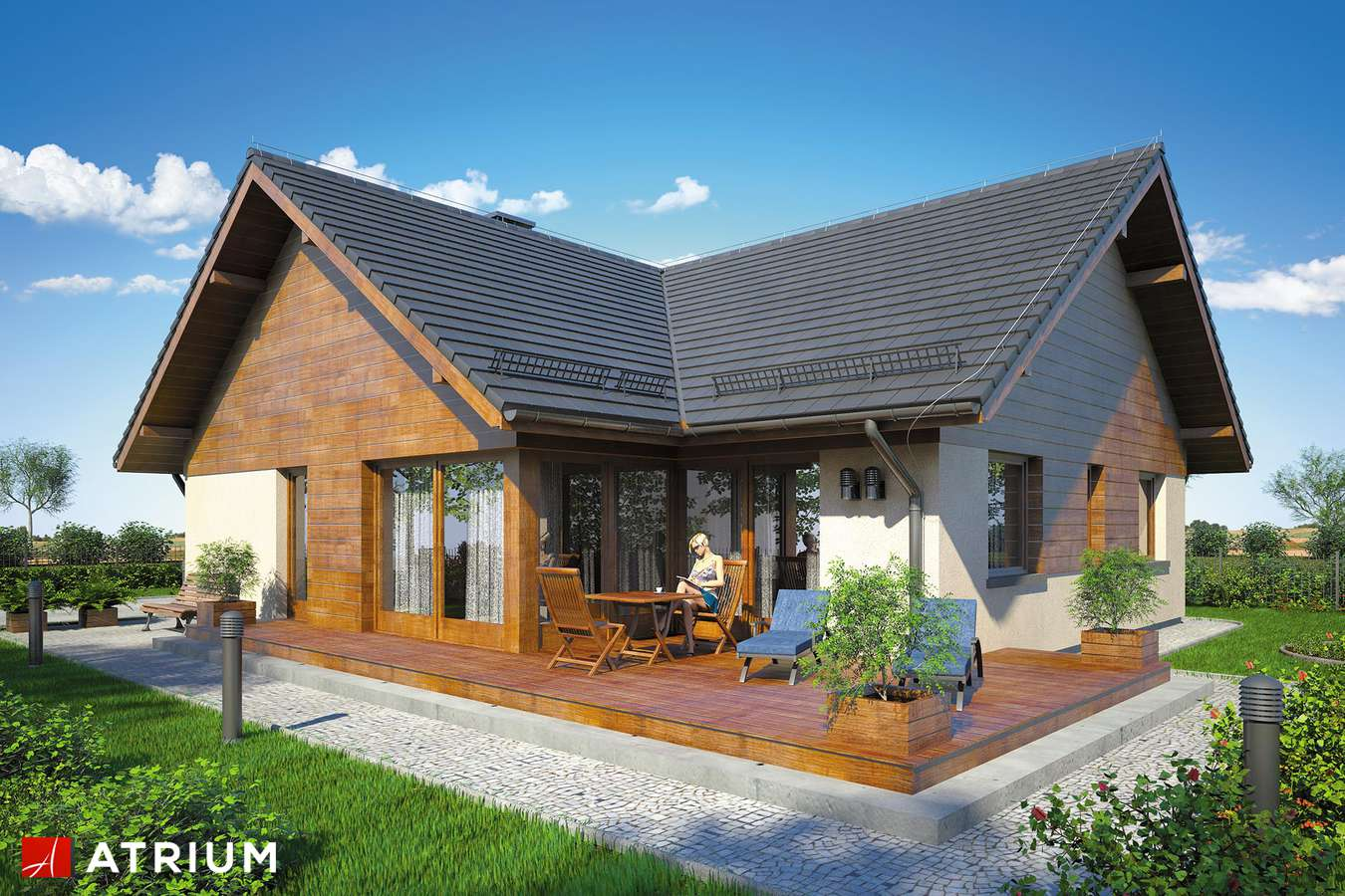 Projekty domów - Projekt domu parterowego WINSTON IX - wizualizacja 2 - wersja lustrzana