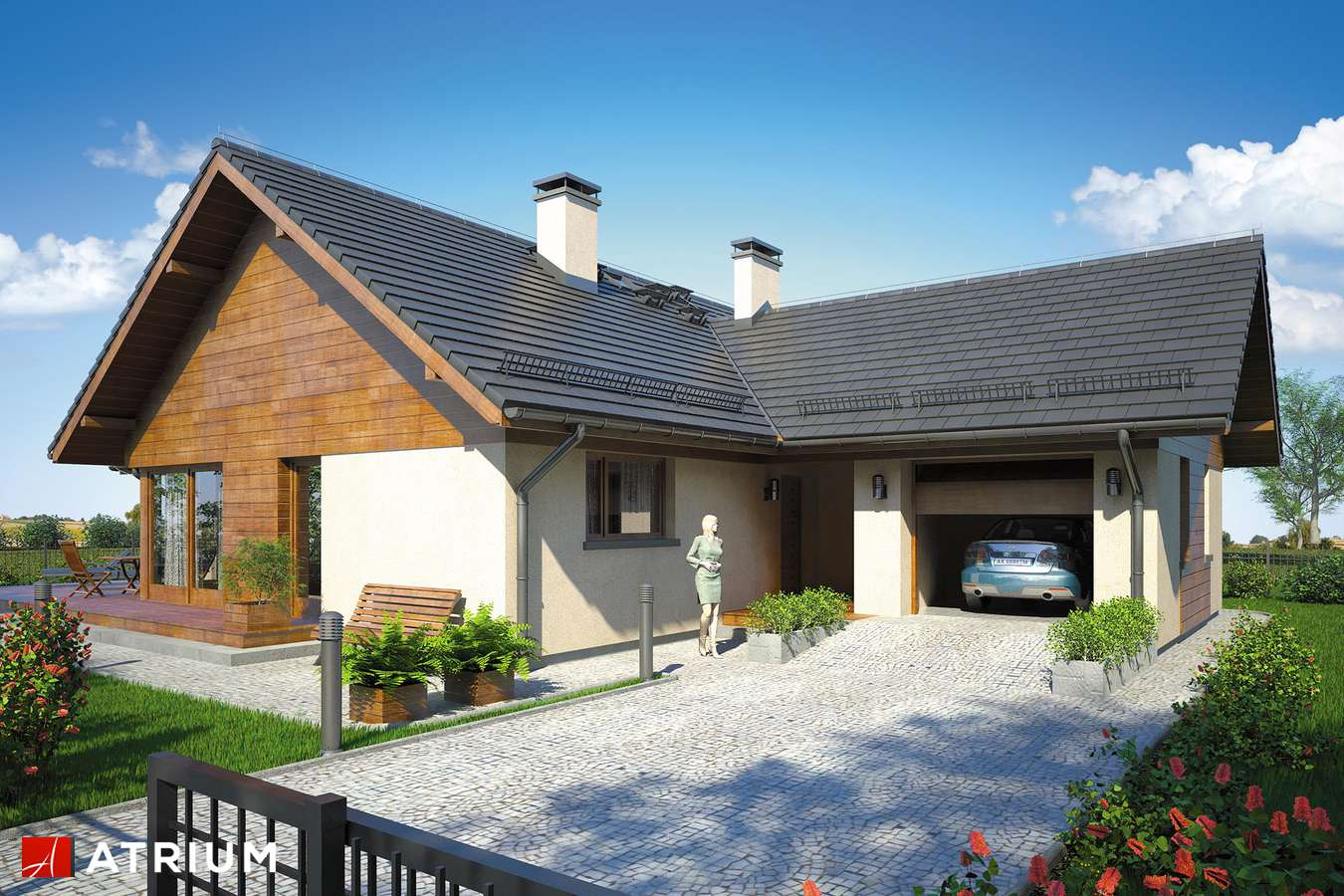 Projekty domów - Projekt domu parterowego WINSTON IX - wizualizacja 1