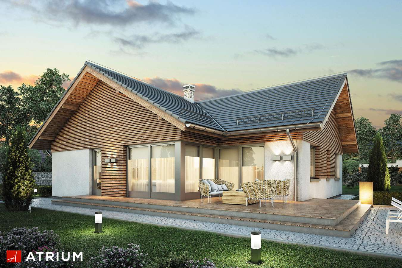 Projekty domów - Projekt domu parterowego WINSTON X - wizualizacja 2 - wersja lustrzana