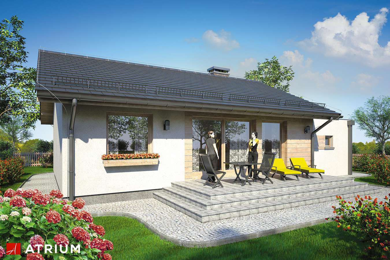 Projekty domów - Projekt domu parterowego REMIK III - wizualizacja 2