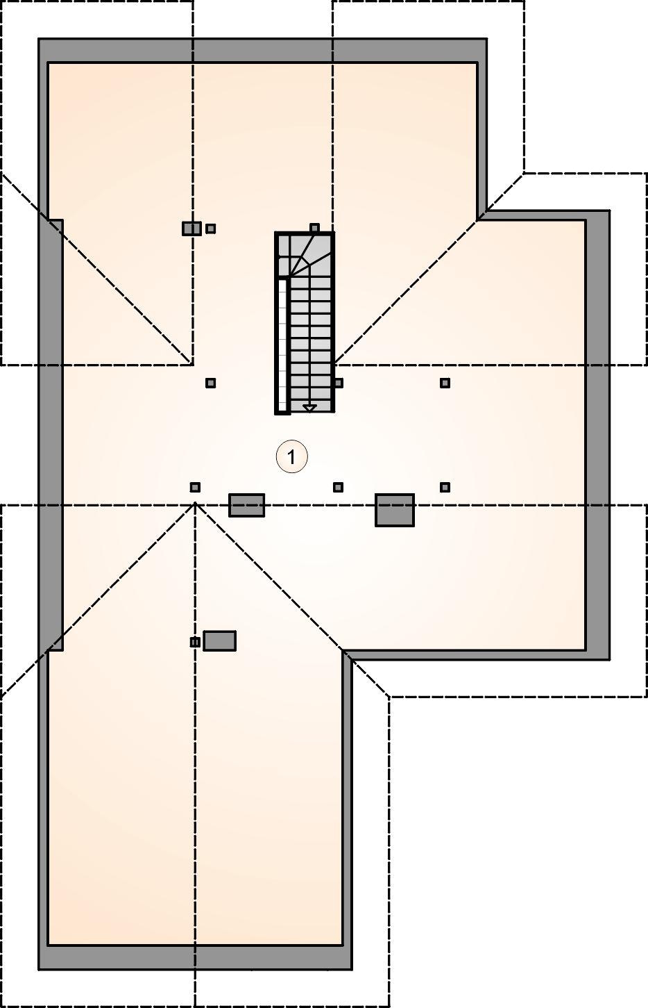 Rzut poddasza - projekt Oxford II - wersja lustrzana